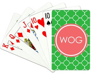 Personalized Playing Cards with Monogram- Clover- Groomsmen Gift