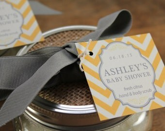 Set of 24 - Baby Shower Favor Tags - 2 X 2 inch - Chevron Tag Design - Colors of your choice, Wedding Favor Tags, Hang Tags, Custom Tags