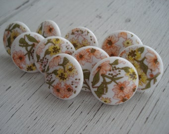 Delft Look Yellow Peach Green Vintage Cabochons Push Pins Thumb Tacks Set of 10