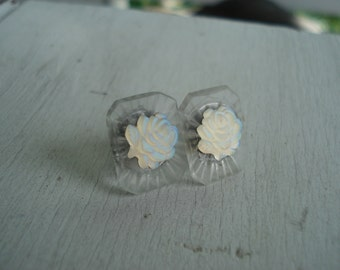 Vintage Antique Frosted Lalique Inspired Luminous Glass White Roses Stud Pierced Earrings