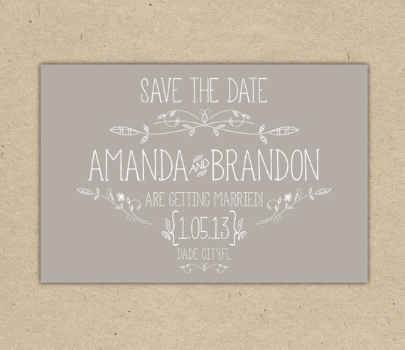 Save the date custom printable template vintage 2054 for Vintage save the date templates free