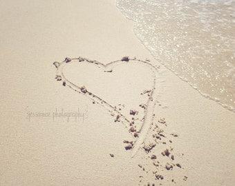 Beach Photography, Heart in the Sand, Beach Print, Heart Print, Romantic Beach Wall Art, Ocean Print, Nautical Decor, Love Art, Beach House
