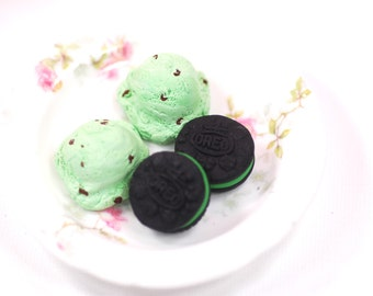 18 Inch Doll Food Miniature Two Scoops Mint Chocolate Chip Ice Cream Samantha Etsy