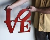 "Love wall art metal sign - 7"" x 7"" or 15"" x 15"" - love metal wall hanging - red with rust accents patina - love sign art - choose color"