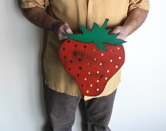 """Strawberry metal wall art - 15"""" tall - metal wall hanging - red and green with rust accents patina strawberry"""