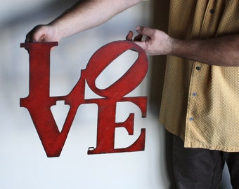 """Love wall art metal sign - 7"""" x 7"""" or 15"""" x 15"""" - love metal wall hanging - red with rust accents patina - love sign art - choose color"""