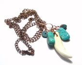 The Trickster Coyote Tooth Necklace  Copper Turquoise Chrysocolla Totem Animal