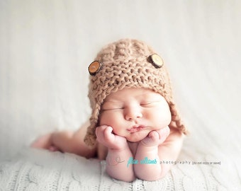 Baby Aviator Hat Knitting Pattern Free : Crochet patterns Knitting patterns baby props by CrochetMyLove