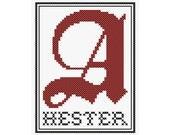 Scarlet Letter Inspired HESTER Cross Stitch Chart