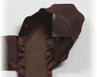 7/8 inch x 5 yds Double Ruffle ribbon - BROWN