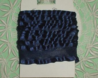 7/8 inch x 5 yds Double Ruffle ribbon - NAVY