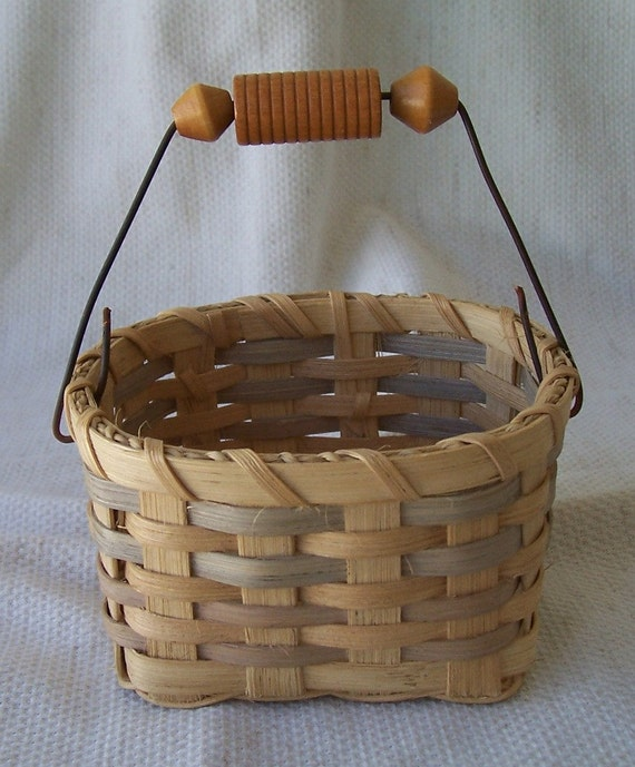 Handmade Small Baskets : Handmade small square basket with wire handle and wood beads