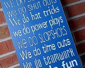 Wooden Sign In This Home .... We do Hockey (Toronto Maple Leafs blue) completely painted by Dressingroom5