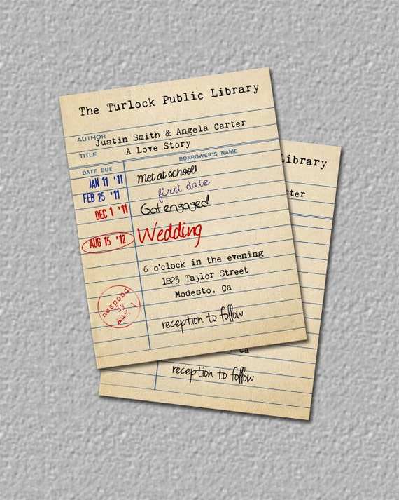 Items Similar To Library Card Invitation Library Wedding