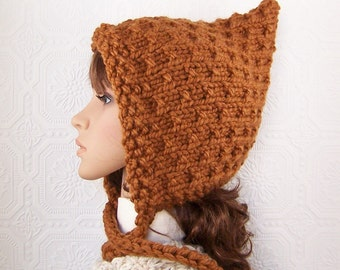 Hand knit pixie hat - brown - knit winter hat brown knit winter hood Winter Fashion Winter Accessories by Sandy Coastal Designs
