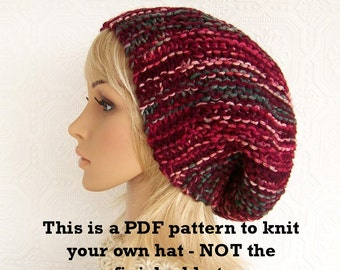Instant download knitting hat pattern - PDF knitting pattern adult slouch hat - DIY Winter Fashion Accessories by Sandy Coastal Designs