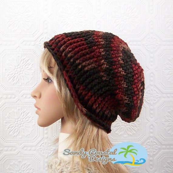 Handmade crochet slouch hat - brown mix color slouchy beanie - Winter Fashion Accessories by Sandy Coastal Designs