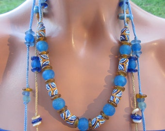 Beaded necklace, recycled glass  ,Eco friendly, blue, hunny,  brown  and yellow