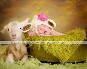 newborn or 0-3 months  baby lamb crochet bonnet  hat  photo prop photography  New