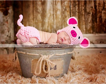 Newborn or 0-3 months  baby pig diaper   cover hat set crochet Newborn photo props photography boy girl
