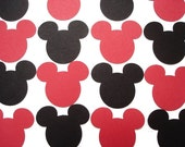 100 Red Black Mickey Mouse punch die cut cutout scrapbooking embellishments - No682