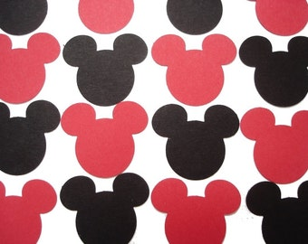50 Red Black Mickey Mouse punch die cut cutout scrapbooking embellishments - No682