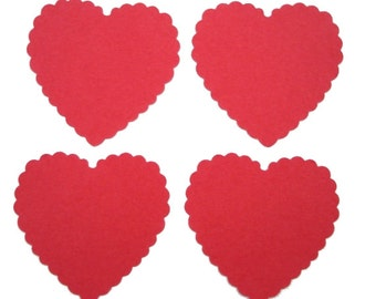 25 Large Scalloped Red Heart punch die cut tag embellishments - No914