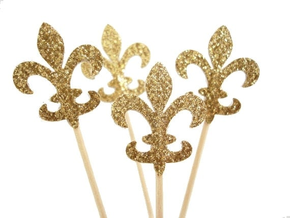 Glitter gold fleur de lis cupcake toppers french party for Fleur glitter