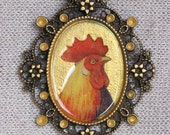 Handpainted Gold and Resin Rooster Cameo Decorative Metal Pendant Necklace