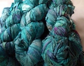 Recycled Hand Dyed AquaMARINE Sari Silk Ribbon Yarn 50 Yards