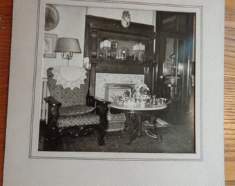 XL Original Victorian old house interior photograph, fireplace view, furniture, hints of Christmas, in thick matte, MORE for grouping