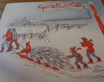 Glittered & Gorgeous 1940s Blank UNused Christmas/Winter card, Bringing Home Tree, optional old greetings decals, place cards, OTHERS