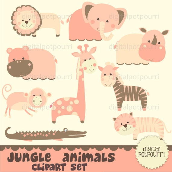 buy2get1 jungle animals for girls clipart set