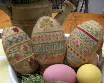 Primitive Sampler Cross-stitched Easter Eggs
