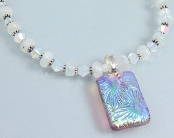 June Birthstone Necklace, Rainbow Moonstone and Crystal Necklace, Dichroic Pendant, Swarovski Crystal, Sterling Silver