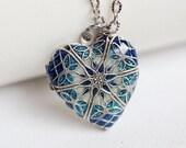 Locket Necklace, Sapphire Silver Locket, Jewelry Gift,Something Blue,filigree locket necklace,photo locket,Wedding Necklace,bridesmaid,