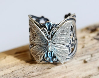 Butterfly Ring,Filigree Flower ring,Spring Ring, Silver Ring, Adjustable Metal Band, Vintage Inspired Ring