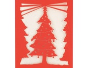 Christmas Tree - Red - Paper Cut Holiday Greeting Card