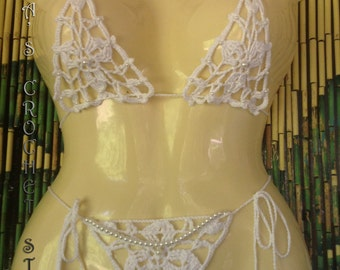 Woman Crochet Wedding Micro Bikini set  Pattern only with written instruction and diagrams in Pdf files.