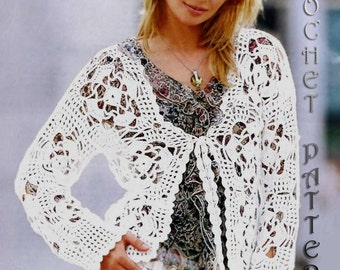 Crochet Woman cardigan Pattern only with written instruction and diagram's Very easy to follow in PDF FILES