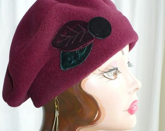 Women's Maroon Beret with Handmade Velvet Leaves and Button