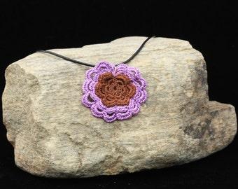 Flower Necklace with Purple Trim.