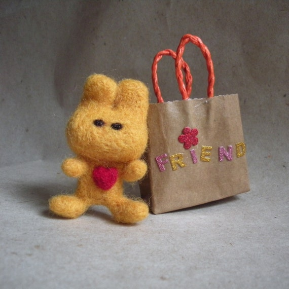 A gift for someone special, wool felted miniature rabbit with heart....and a gift bag