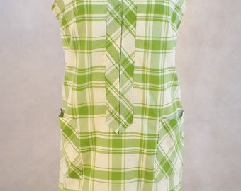 1960s Green and White Plaid Housedress (L)