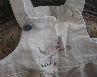 CUTEST Vintage Toddler Baby Boy Overalls 1950's Embroidered Bunny Gardening