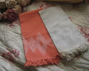 2 pc Vintage Decorative Kitchen Towel Salmon Pink & Creamy Grey Fringe Embroidered White Geometric A43