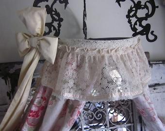 Pair Vintage TIEBACK Tiebacks Thick Ruffle Ecru Lace Crochet Pink Ribbon Trim Shabby Cottage CHIC