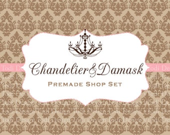 Chandelier&Damask  Premade shop set