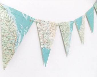 British Map bunting - British Atlas Bunting - Eco-friendly bunting garland - wedding decor - recycled banner - pennants
