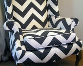 Grey and White Chevron Stripe Wingback Chair - ShopSpacePlace